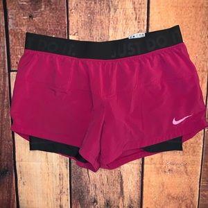 Nike Dri-Fit Running Shorts Sz Med Pink/Gray (Nx)